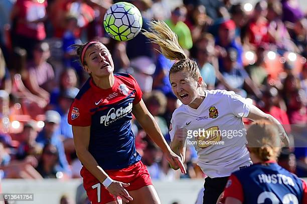 Washington Spirit midfielder Christine Nairn and WNY Flash midfielder Samantha Mewis fight for a header during the 2016 NWSL Championship soccer...