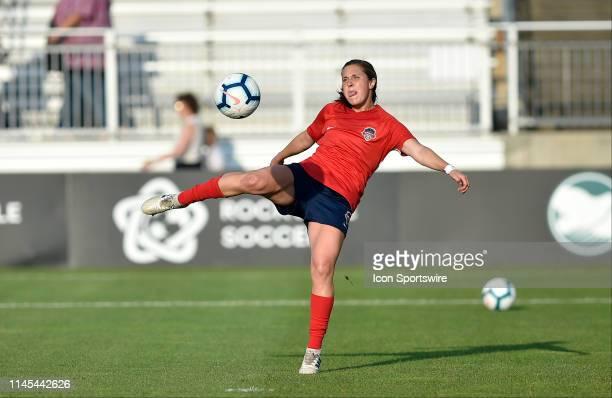 Washington Spirit midfielder Jordan DiBiasi kicks a ball int the net surging warm ups before the National Womens Soccer League game between the...