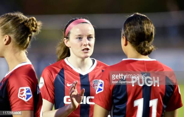 Washington Spirit midfielder Rose Lavelle talks with forward Mallory Mal Pugh during the North Carolina Courage vs Washington Spirit National Womens...