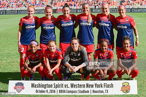 Washington Spirit team photo before the 2016 NWSL Championship soccer match between WNY Flash and Washington Spirit at BBVA Compass Stadium in...