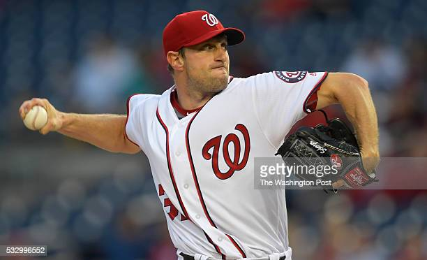 Washington starting pitcher Max Scherzer as he ties a major league strike out record at 20 during the Washington Nationals defeat of the Detroit...
