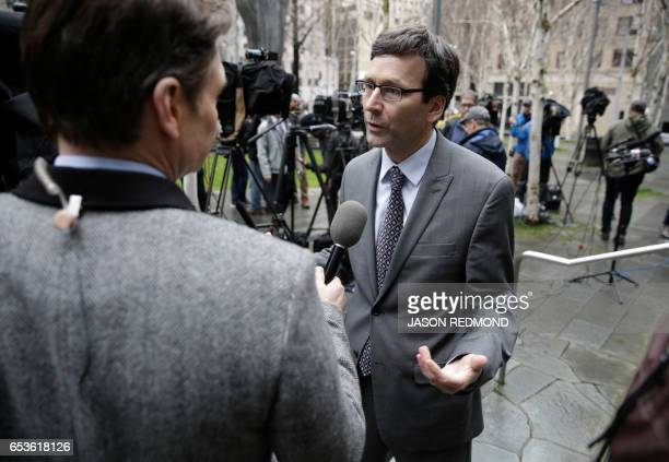 Washington State Attorney General Bob Ferguson addresses the media following a hearing about US President Donald Trump's travel ban at the US...