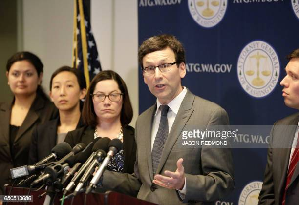 Washington State Attorney General Bob Ferguson gives a press conference asking a federal judge to block US President Donald Trump's revised travel...