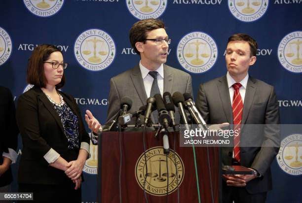 Washington State Attorney General Bob Ferguson gives a press conference saying he will ask a federal judge to block US President Donald Trump's...