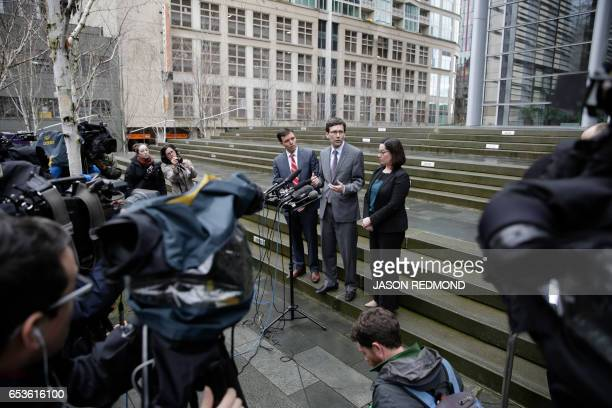 Washington State Attorney General Bob Ferguson Solicitor General Noah Purcell and Civil Rights Unit Chief Colleen Melody address the media following...