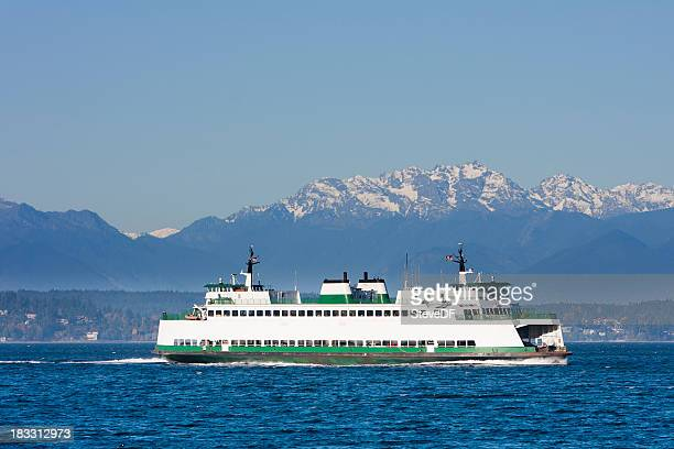 washington state car ferry on puget sound - ferry stock pictures, royalty-free photos & images