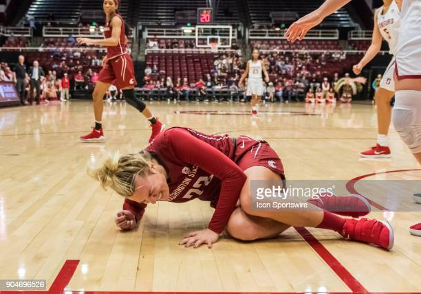 Washington State Cougars guard Pinelopi Pavlopoulou goes down with a left ankle injury and leaves the game between the Washington State Cougars and...