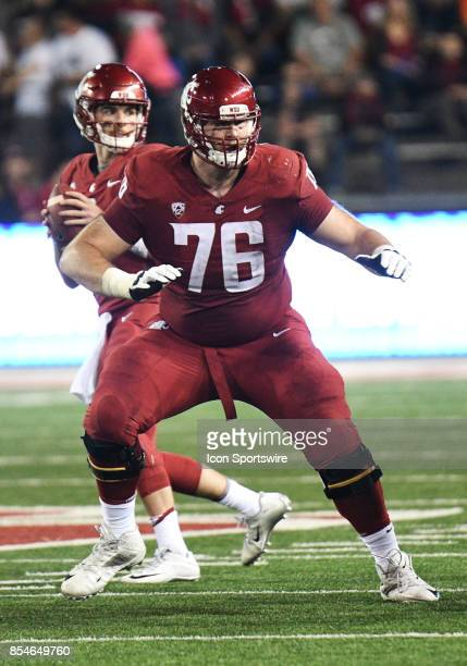 Washington State Cougars offensive lineman Cody O'Connell looks for someone to block during the game between the Boise State Broncos and the...
