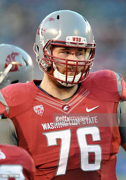 Washington State Cougars offensive lineman Cody O'Connell on the field during a break in the action of the first quarter against the Minnesota Golden...