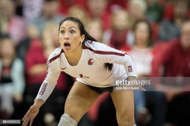 Washington State defensive specialist/libero Alexis Dirige ready to defend against Nebraska in the third set Saturday December 2nd at the Devaney...