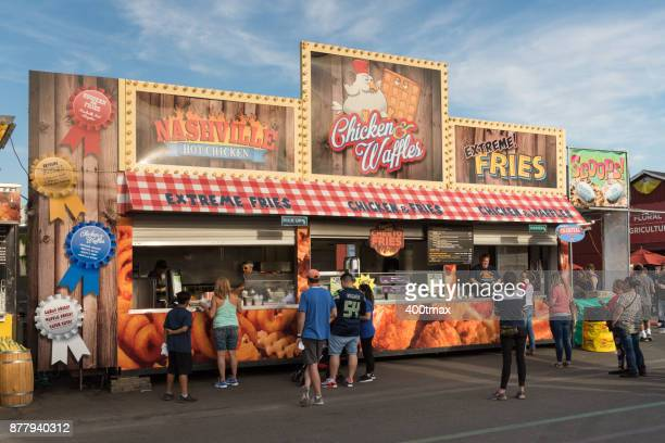 washington state fair - chicken and waffles stock photos and pictures