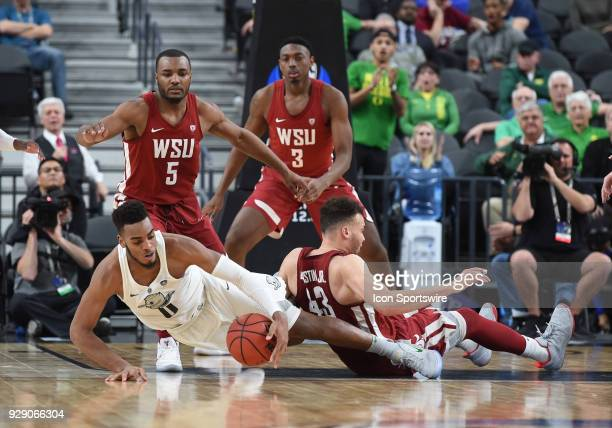 Washington State forward Drick Bernstine fouls Oregon forward Troy Brown which set him up for the game winning free throws during the PAC12 Men's...