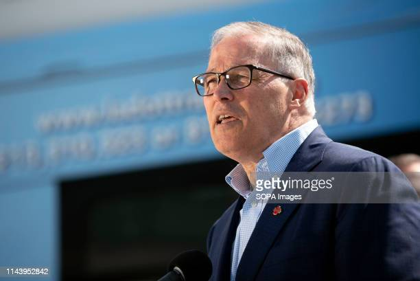 Washington State Governor and Democratic presidential candidate Jay Inslee seen speaking during his Climate Mission Tour in Los Angeles California