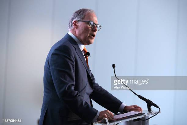 Washington State Governor Jay Inslee addresses American Council on Renewable Energy's 2019 Renewable Energy Policy Forum March 20 2019 in Washington...