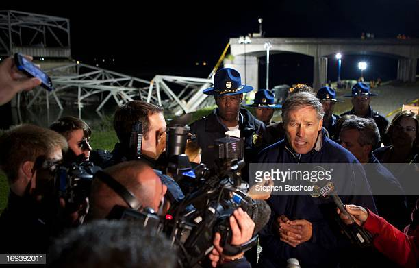 Washington State Governor Jay Inslee addresses the media at the scene of a bridge collapse into the Skagit River on Interstate 5 on May 23 2013 near...