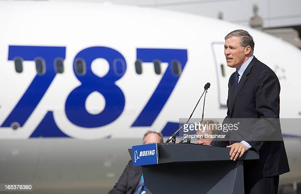 Washington State Governor Jay Inslee speaks during during the opening of the new Everett Delivery Center April 3 2013 in Everett Washington The new...