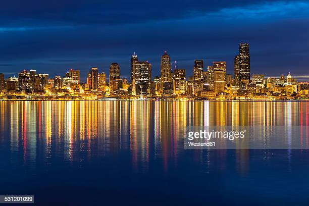 USA, Washington State, Puget Sound and skyline of Seattle at blue hour