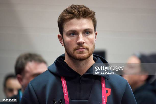 Washington State quarterback Luke Falk answers questions from the media during the NFL Scouting Combine on March 02 2018 at Lucas Oil Stadium in...