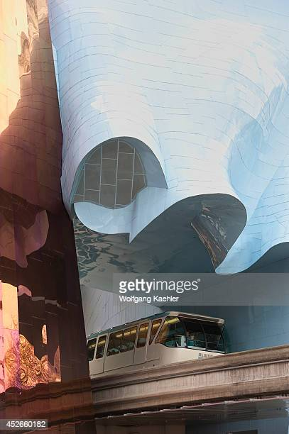 Washington State, Seattle Center, Experience Music Project, Designed By Frank O. Gehry, Monorail.