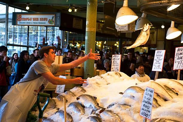 Usa washington state seattle pike place market fresh for Fish market seattle washington