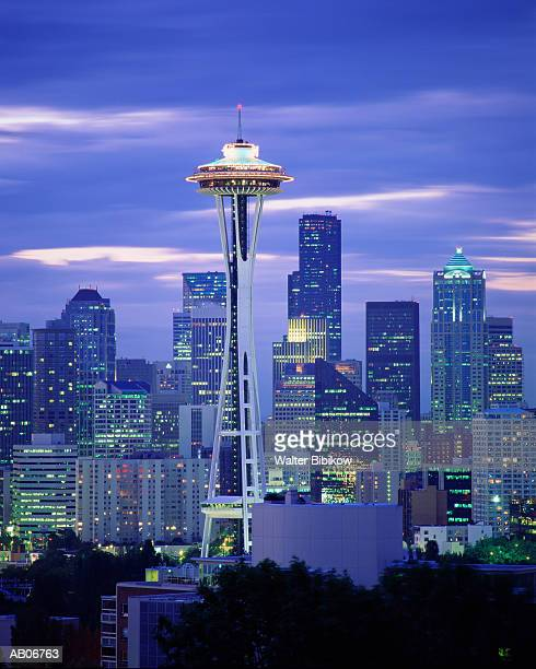 usa, washington state, space needle and skyline, dusk - seattle stock pictures, royalty-free photos & images
