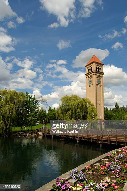 USA Washington State Spokane Riverfront Park With Clock Tower In Background