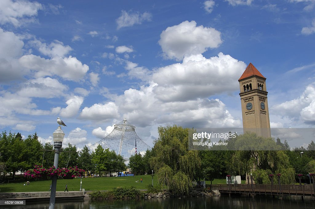 USA, Washington State, Spokane, Riverfront Park With Clock... : News Photo