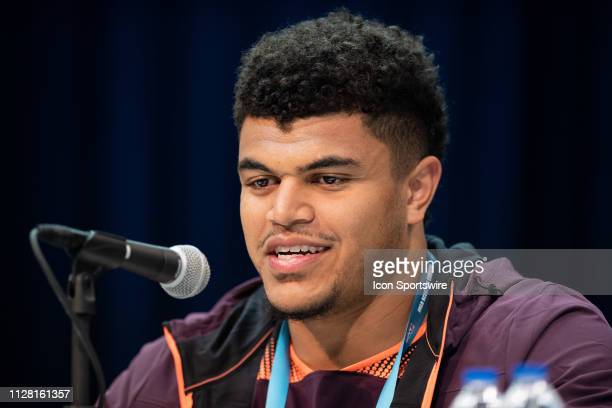Washington State tackle Andre Dillard answers questions from the media during the NFL Scouting Combine on February 28 2019 at the Indiana Convention...