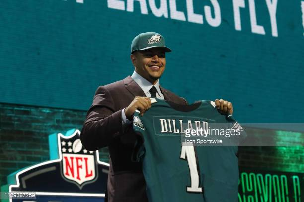 Washington State tackle Andre Dillard is selected with the 22nd pick by the Philadelphia Eagles in the first round of the 2019 NFL Draft on April 25...