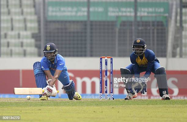 Washington Sundar of India bats during the ICC U19 World Cup SemiFinal match between India and Sri Lanka on February 9 2016 in Dhaka Bangladesh
