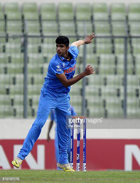 Washington Sundar of India bowls during the ICC U19 World Cup Final Match between India and West Indies on February 14 2016 in Dhaka Bangladesh