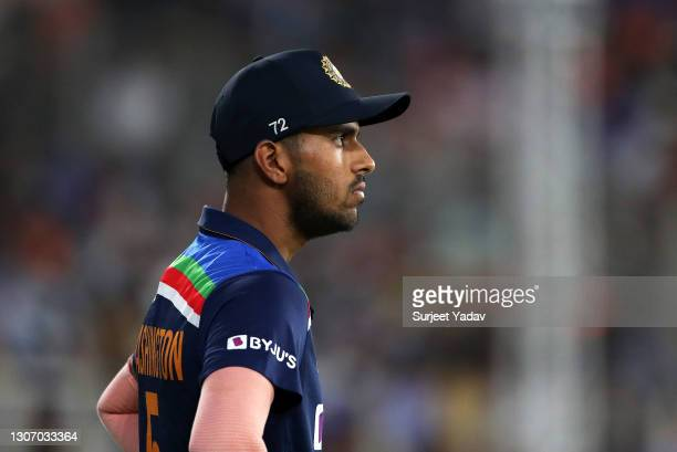 Washington Sundar of India looks on during the 2nd T20 International match between India and England at Narendra Modi Stadium on March 14, 2021 in...