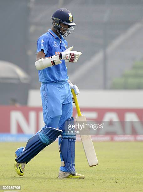 Washington Sundar of India walks back after getting out during the ICC U19 World Cup SemiFinal match between India and Sri Lanka on February 9 2016...