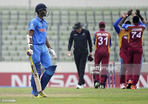Washington Sundar of India walks back after getting out during the ICC U19 World Cup Final Match between India and West Indies on February 14 2016 in...