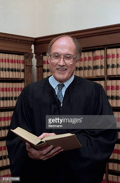 Washington: Supreme Court Associate Justice William Rehnquist holds a picture session in his chambers. Rehnquist will replace the Chief Justice...