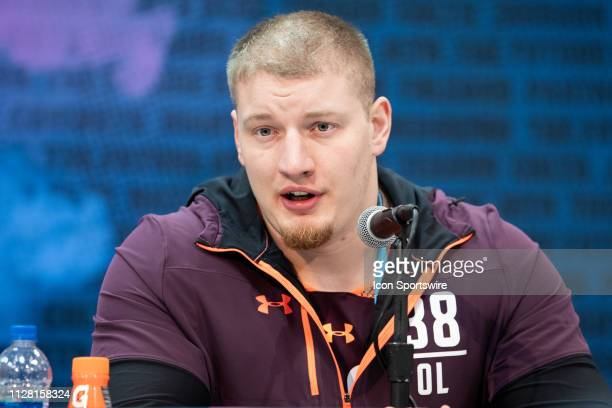 Washington tackle Kaleb McGary answers questions from the media during the NFL Scouting Combine on February 28 2019 at the Indiana Convention Center...