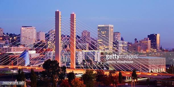 USA, Washington, Tacoma, skyline, night