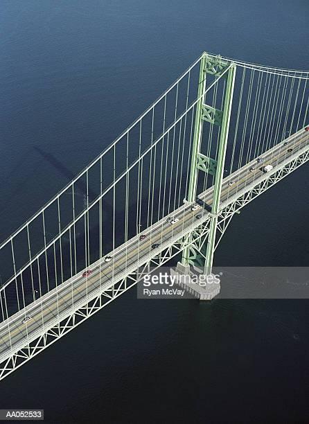 USA, Washington, Tacoma, Tacoma Narrows Bridge, aerial view