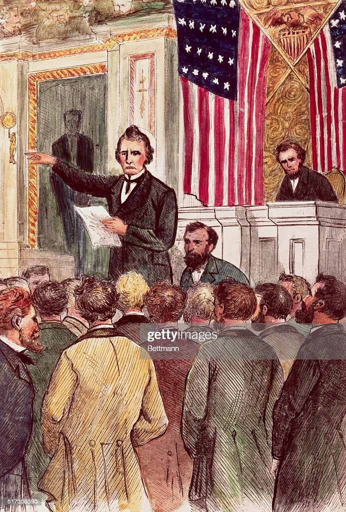 Thaddeus Stevens closing the debate on the Andrew Johnson impeachment in the house, March, 1868. Colored Woodcut.