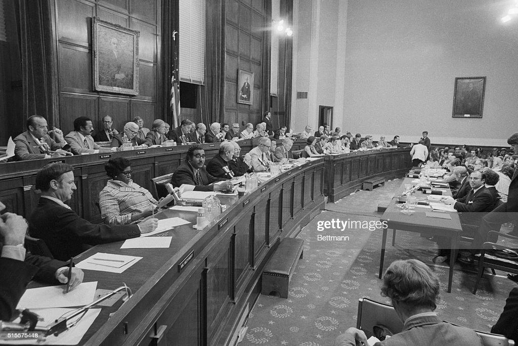 House Judiciary Committee Debate on Impeachment of President Nixon : News Photo
