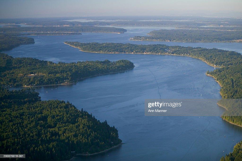 USA, Washington, Thurston County, south Puget Sound, aerial view : Stock Photo
