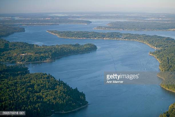 USA, Washington, Thurston County, south Puget Sound, aerial view