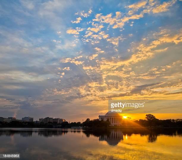 Washington Tidal Basin and Jefferson Memorial with Brilliant Sunrise