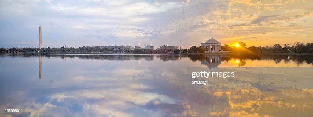 Washington Tidal Basin Sunrise with Beautiful Reflections Panorama : Stock Photo