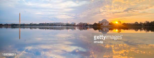 washington tidal basin sunrise with beautiful reflections panorama - washington dc stock pictures, royalty-free photos & images