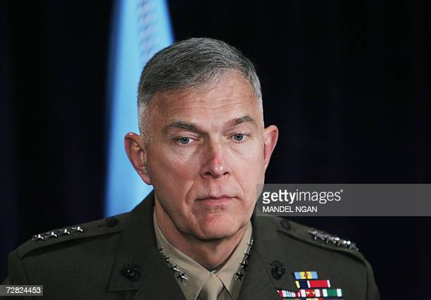 A 13 December 2006 photo shows Commandant of the US Marine Corps General James T Conway waiting for a statement by US President George W Bush after...