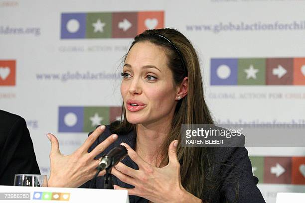 Actress Angelina Jolie UN Goodwill Ambassador for High Commissioner for Refugees speaks 26 April in Washington DC during the launch of Global Action...