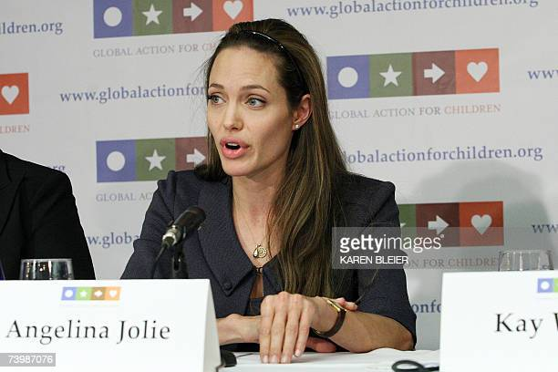 Actress Angelina Jolie UN Goodwill Ambassador speaks 26 April in Washington DC during the launch of Global Action for Children GAC is a nonpartisan...