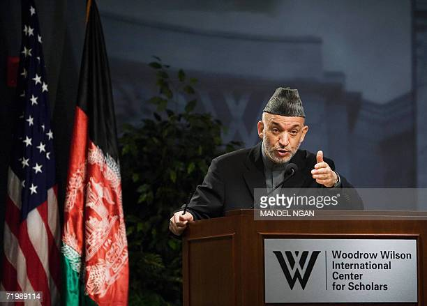 Washington, UNITED STATES: Afghan President Hamid Karzai speaks during a forum on Afghanistan at the Woodrow Wilson Center 25 September 2006 in...