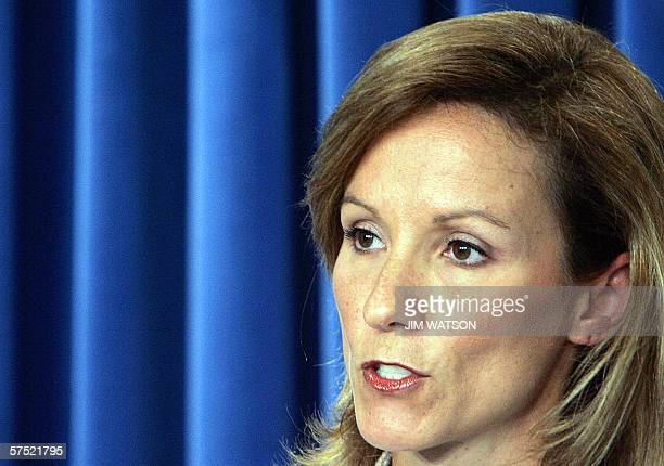 Assistant to the US President for Homeland Security and Counterterrorism Fran Townsend speaks during a briefing on the National Strategy for Pandemic...